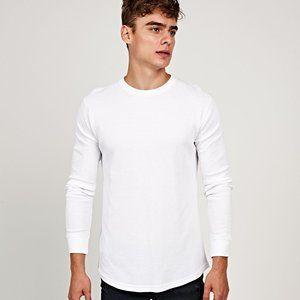 White Basics Waffle-Knit Long Sleeve Shirt